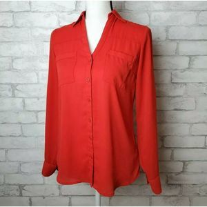 Express The Portofino Shirt Red Long Sleeve